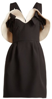 Valentino Bow Detailed Wool And Silk Blend Dress - Womens - Black White