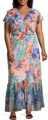 Spense Short Sleeve Floral Maxi Dress - Plus