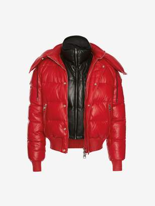 Alexander McQueen Down-filled Lambskin Leather Puffer Jacket