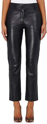 Barneys New York Women's Leather Straight-Leg Trousers - Black
