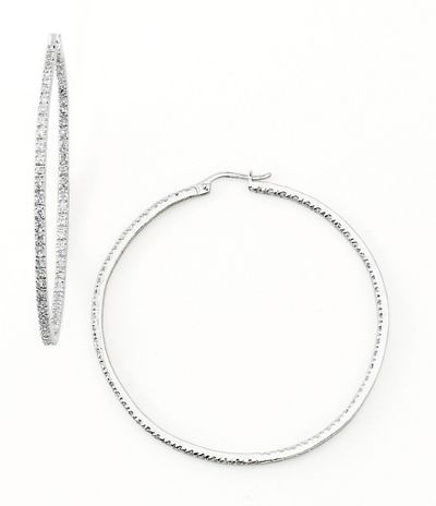 Dillard's sterling collection large cz hoop earrings