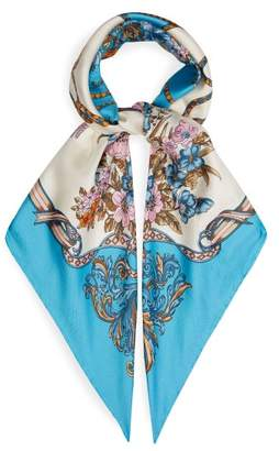 Gucci Floral And Tassel Print Silk Faille Scarf - Womens - Blue