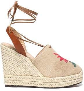 Castaner Embroidered Canvas Wedge Espadrilles