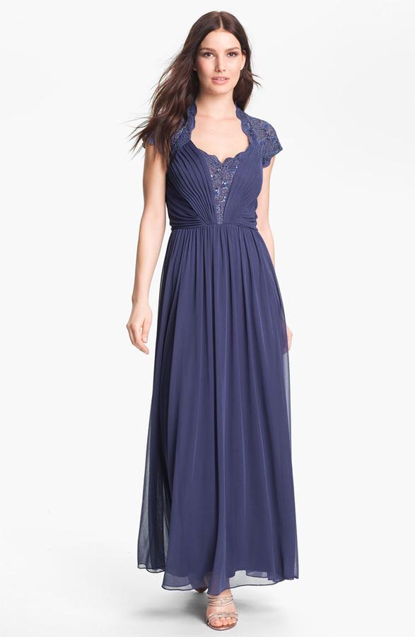 Alex Evenings Lace Appliqué & Pleated Mesh Gown (Petite)