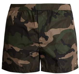 Valentino Camouflage Print Swim Shorts - Mens - Khaki