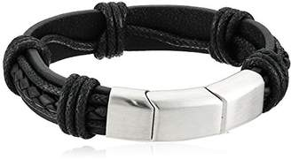 Men's Black Leather with Magnetic Steel Clasp Bracelet