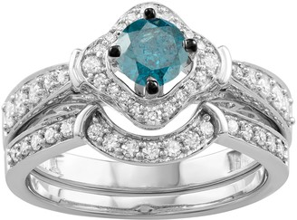 14k White Gold 1 Carat T.W. Blue & White Diamond Engagement Ring Set