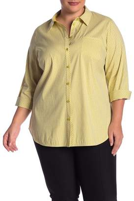 Lafayette 148 New York Paget 3/4 Sleeve Gingham Shirt (Plus Size)