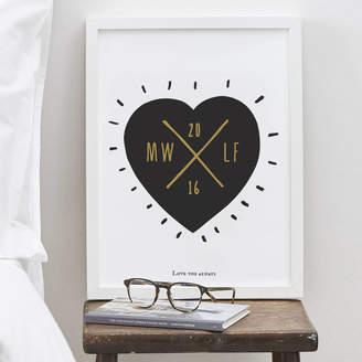 Old English Company Personalised Heart Wedding Print