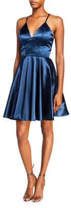 Faviana V-Neck Lace-Up Crossback Charmeuse Fit-&-Flare Dress