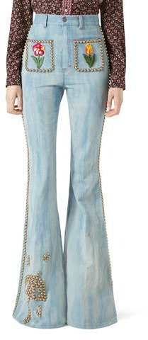Gucci Gucci Embroidered Denim High-Waist Flare Pants with Studs, Light Blue