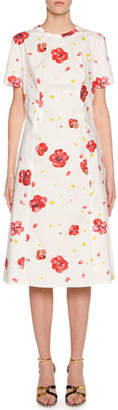 Marni Short-Sleeve Painted Flower Print Dress
