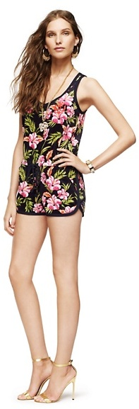 Juicy Couture Tank Romper in Aloha Floral Velour