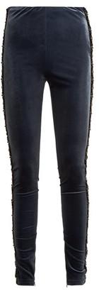 Koché Bead Embellished Velvet Leggings - Womens - Navy