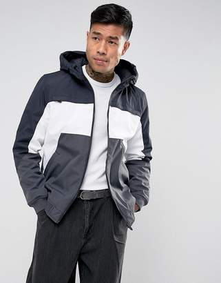 Bershka Zip Through Color Block Jacket In Navy and White