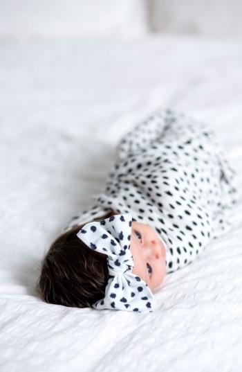 Baby Bling Dot Print Swaddling Blanket & Headband Set 2