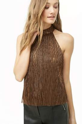 Forever 21 Metallic Ribbed Mock Neck Top