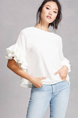FOREVER 21+ Oversized Ruffle Sleeve Top $35 thestylecure.com