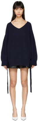 Stella McCartney Navy Cashmere Side Tie V-Neck Sweater