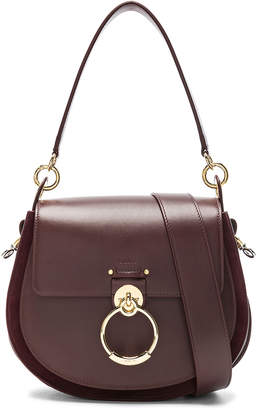 Chloé Medium Tess Shiny Calfskin Shoulder Bag in Burnt Brown | FWRD