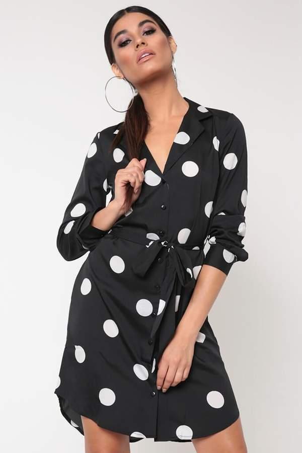 Isawitfirst Black Polka Dot Shirt Dress