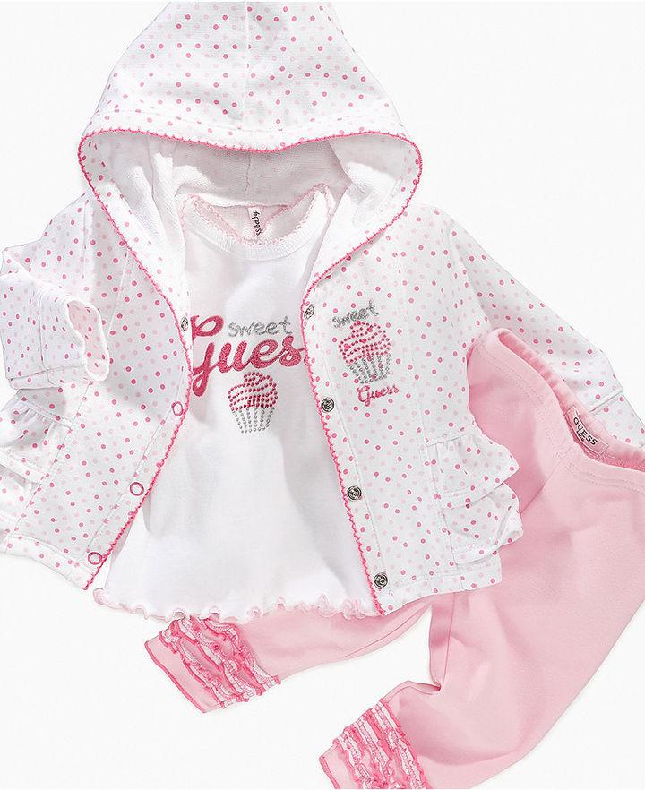 GUESS Baby Set, Baby Girls 3 Piece Cupcake Hoodie Set