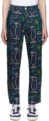 Sunnei Blue Satin Cocktail Print Trousers