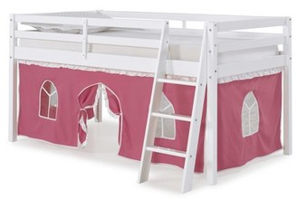 LOFT Alaterre Roxy Twin Junior Bed with Pink and White Tent, White