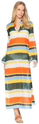 Tory Burch Swimwear Balloon Stripe Stephanie Beach Caftan Cover-Up Women's Swimwear