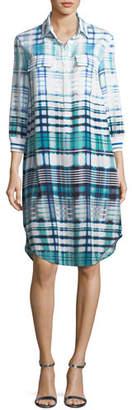 St. John Ombré Plaid Silk-Blend Shirt Dress