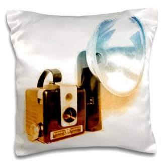 3dRose Picture of a Vintage 1950s camera with bulb flash, Pillow Case, 16 by 16-inch