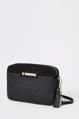 River Island Womens Black Monogram Boxy Cross Body Bag - Black