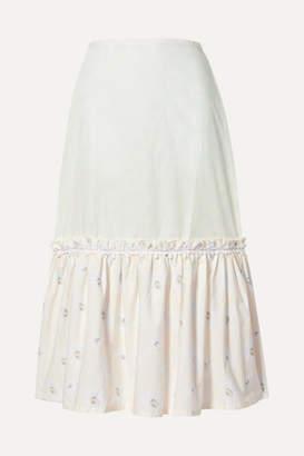 Solid & Striped Peasant Tiered Floral-print Cotton-poplin Skirt - White