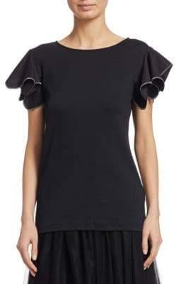 Fabiana Filippi Jersey Top with Beaded Flutter Sleeve