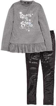 Very Frill Tee & Sequin Legging Set