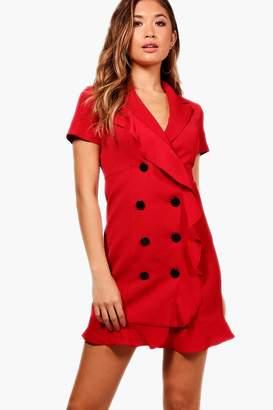 boohoo Frill detail Blazer Dress