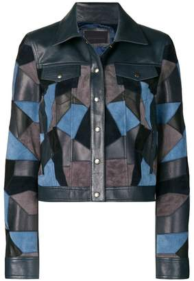 Diesel Black Gold cropped jacket with suede patchwork