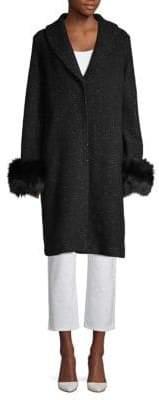 Elie Tahari Grace Blue Fox Fur-Trimmed Coat