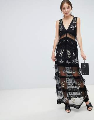 Miss Selfridge tiered maxi dress with lace detail in black