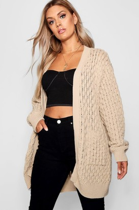 boohoo Plus Crochet Knitted Oversized Cardigan