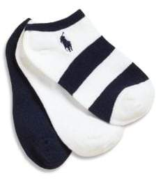 Ralph Lauren Little Girl's& Girl's Three-Pair Striped and Solid Ankle Socks