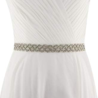 Fenteer Bridal Beads Sash Engagement Dress Rhinestone Appliqué Belt with Ribbon