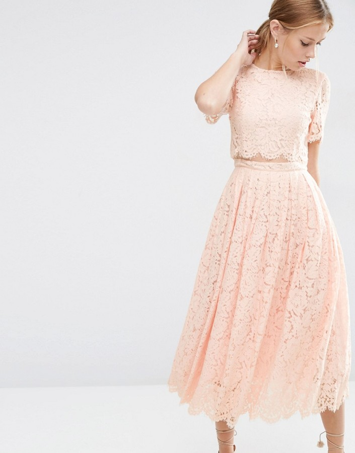 ASOS Lace Crop Top Midi Prom Dress