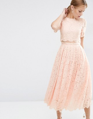 ASOS Lace Crop Top Midi Prom Dress $113 thestylecure.com