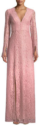 Zac Posen Viv Slit-Sleeve Lace Gown
