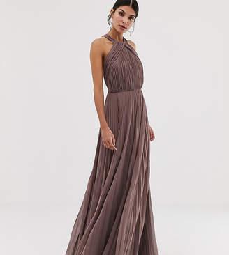 483ef2204532 Asos Tall DESIGN Tall pleated bodice halter maxi dress
