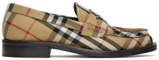 Burberry Beige Check Bedmont Loafers