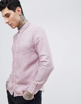 Pretty Green Slim Fit Collingwood Button Down Shirt In Pink