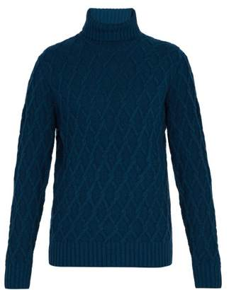 Inis Meáin Inis Meain - Trellis Cable Knit Roll Neck Sweater - Mens - Blue