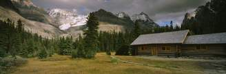 Columbia Wall Art Import Log Cabins On A Mountainside, Yoho National Park, British Columbia, Canada Poster Print (27 x 9)
